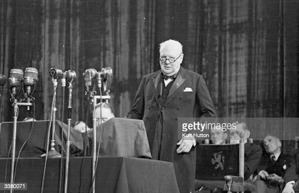 Former British prime minister Winston Churchill addressing the Congress of Europe meeting at the Hague to discuss the issue of closer European union...