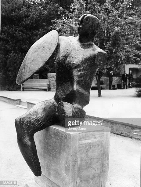 A figure of a 'Warrior with Shield' by Henry Moore one of the artworks on display in London's Holland Park for the fourth triennial openair sculpture...