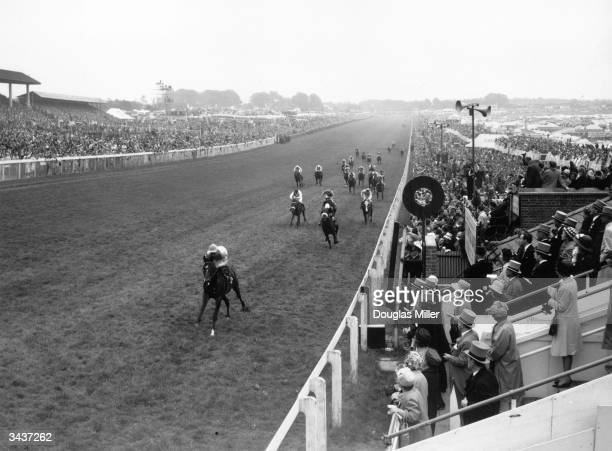 French horse 'Relko' ridden by Yves SaintMartin winner of the 184th Derby at Epsom In second place is Merchant Venturer