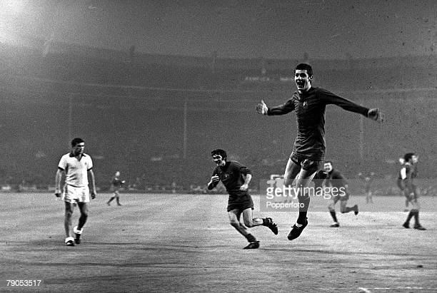29th MAY 1968 European Cup Final Wembley London Manchester United v Benefica Manchester United's Brian Kidd celebrates after scoring his side's third...