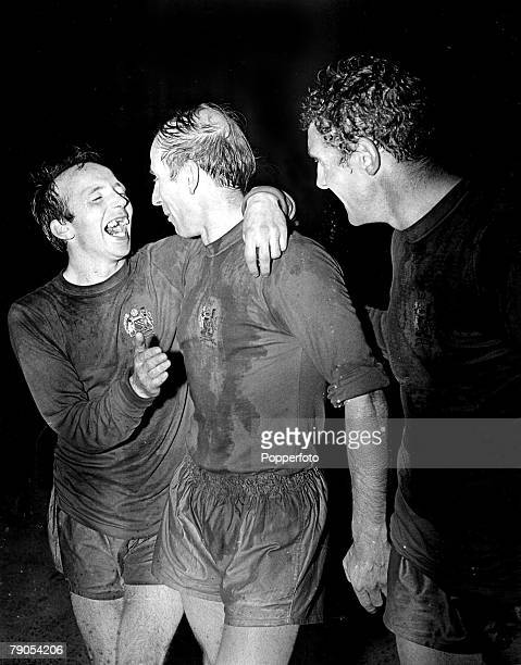 29th MAY 1968 European Cup Final Wembley London Manchester United v Benefica Manchester United's captain Bobby Charlton is hugged by Nobby Stiles as...