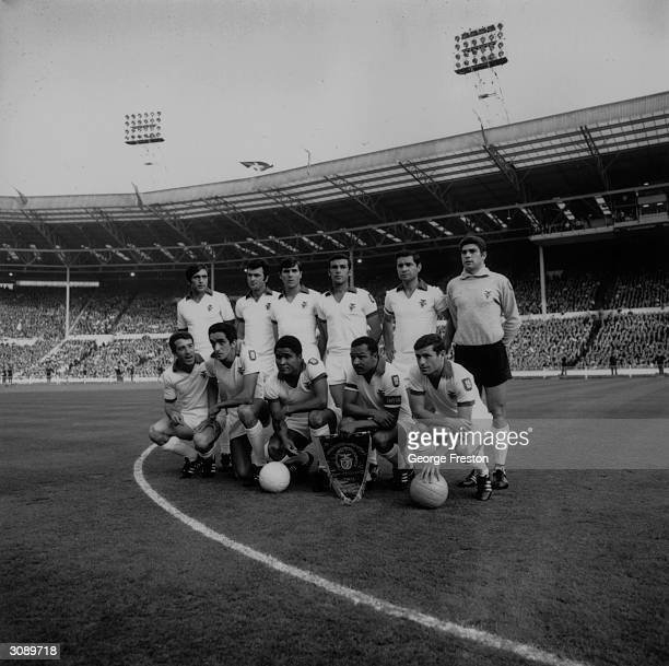 The Benfica team before the European Cup Final against Manchester United at Wembley Stadium Eusebio is in the centre of the front row