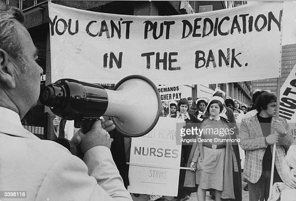 Nurses from the Maudsley Hospital Denmark Hill demonstrating outside the Ministry of Health Elephant and Castle London are addressed by the southern...