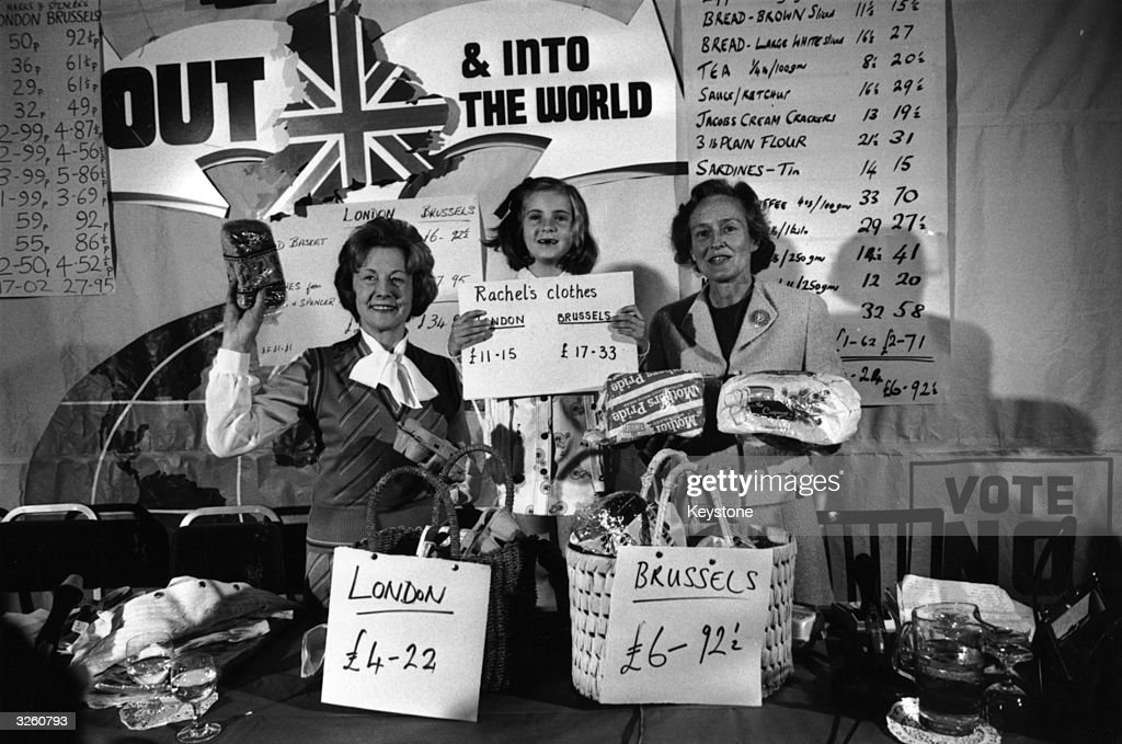 Social Services Minister Barbara Castle (1911 - 2002) and helpers display a variety of goods purchased in London and Brussels with the intention of showing that Britain should leave the Common Market. With her is her great niece Rachel Hinton, aged 7. On the right is Mrs. Neil Marten, wife of the National Referendum Campaigner.