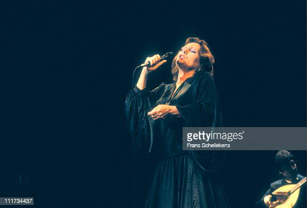 Portuguese fado singer Amalia Rodrigues performs at Leidsche Schouwburg in Leiden Netherlands on 29th May 1987