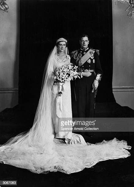 The Duke of Kent with his bride, Princess Marina of Greece after their marriage in Westminster Abbey.