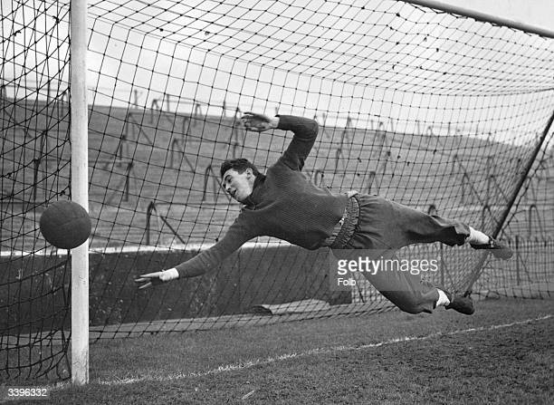The Spanish national goalkeeper Carmelo trains with his team mates at Craven Cottage for a forthcoming international match between England Spain at...