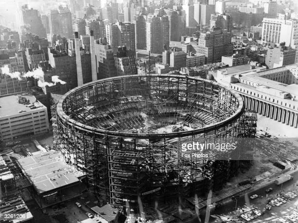 Construction work in progress on the new Madison Square Garden arena at New York City. It will be used for sports, concerts, entertainment and other...