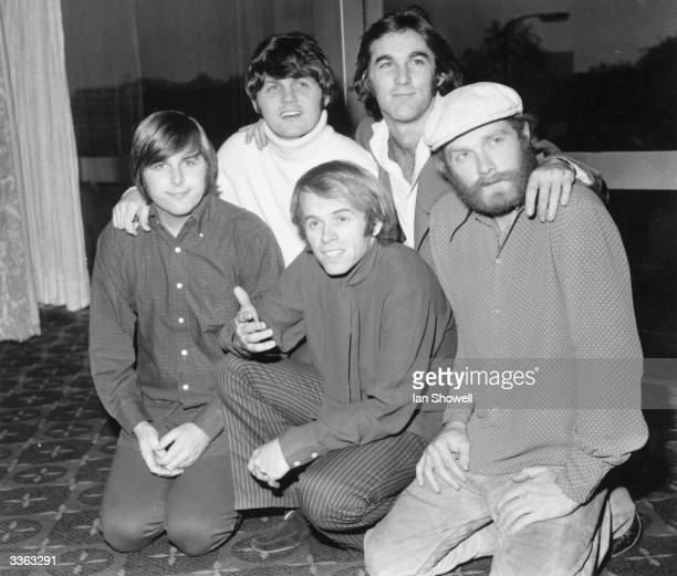 America's top pop group the Beach Boys, from left to right; Carl Wilson , Bruce Johnston, Al Jardine , Dennis Wilson and Mike Love in London for the...