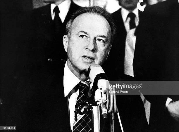 Yitzhak Rabin , Prime Minister of Israel, attending the International Socialist Congress. He was assassinated in late 1995.