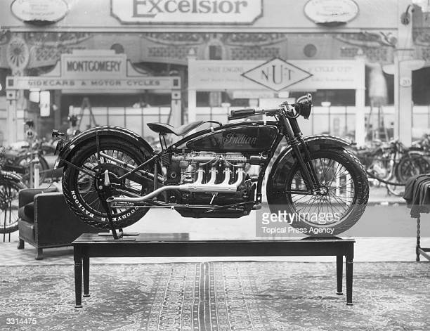 The first Indian fourcylinder engine motorbike on view at the motorcycle show at Olympia London