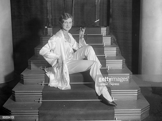Model modelling a suit of pyjamas at a show of Parisian pyjamas in the West End of London.