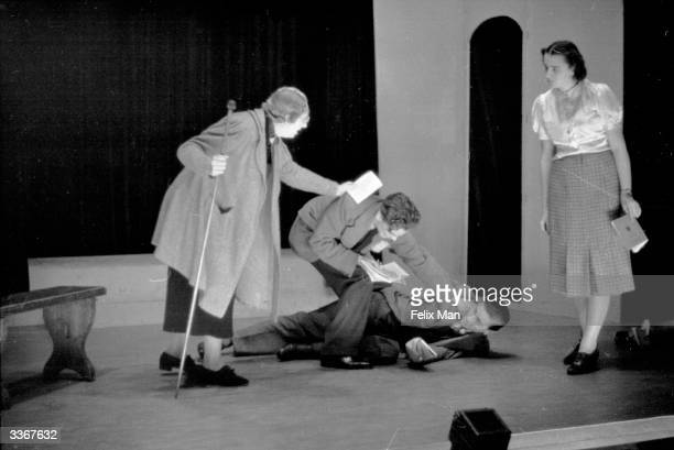 Miss Winifred Oughton directs a class of students at the Royal Academy of Dramatic Art , a leading British drama school in Gower Street, London....