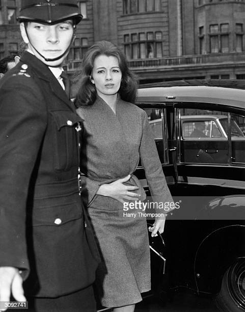 Christine Keeler call girl involved in the British political sex scandal known as the ' Profumo Affair' arriving at court for the hearing