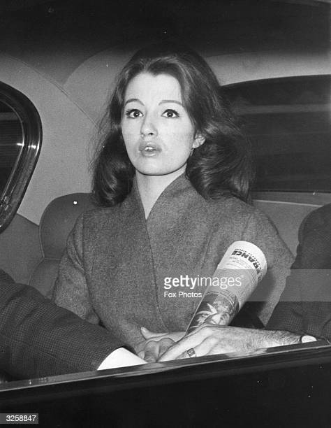 Miss Christine Keeler English model and show girl who had an affair with the Conservative minister John Profumo sitting in a car in London