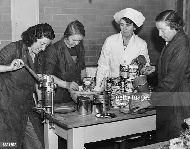 Members of the Women's Land Army canning fruit in Monmouthshire.
