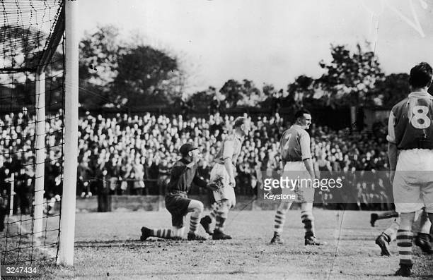 Hull City scores its first goal during a match against Accrington Stanley at Accrington in Lancashire