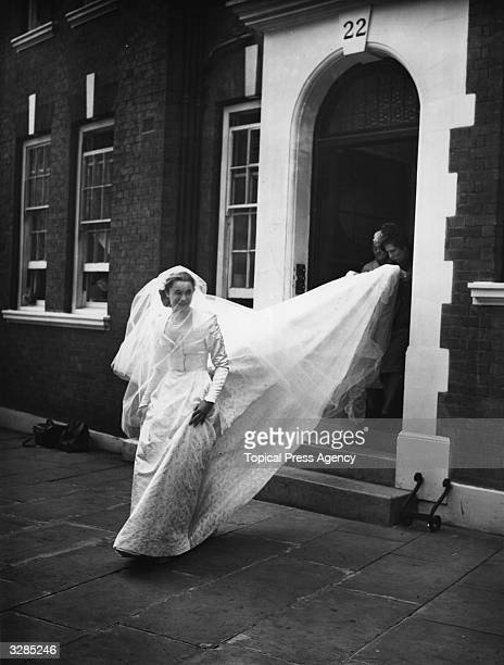 Marion Stein seen leaving her home to be married at St Mark's Church London to the 7th Earl of Harewood