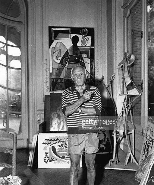 Spanish painter Pablo Picasso in his villa 'La Californie' at Cannes