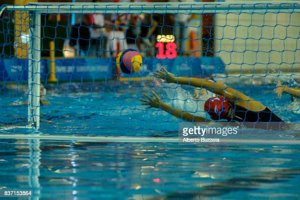 29th Summer Universiade of Taipei 2017 Japanese player Suzuki Kotori scoring a goal while playing against Great Britain in the women Water polo game...
