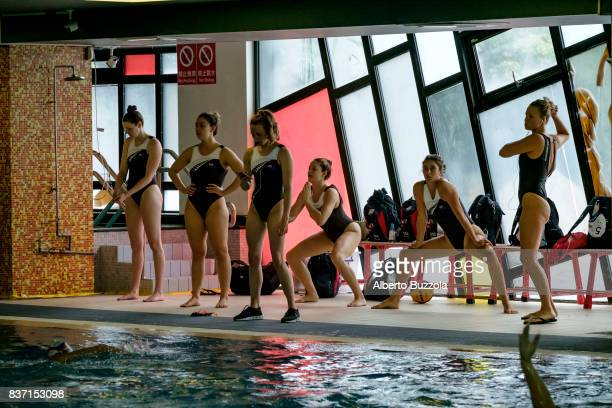 29th Universiade Taipei 2017 Female water polo New Zealand female team warm up before starting the game at the Taipei Universiade against Russia...