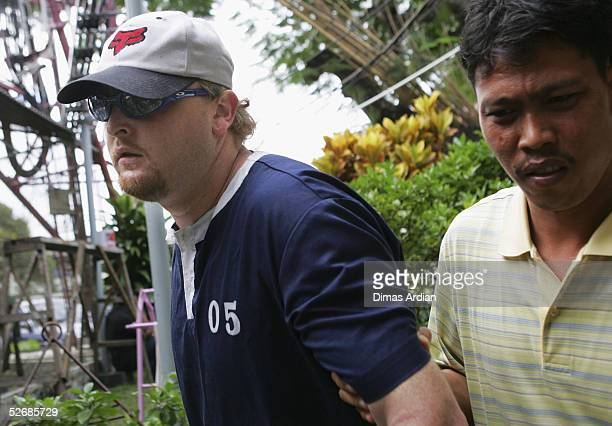 29yearold Australian Martin Stephens is escorted by Indonesian police through Denpasar prison for a question and interrogation session on April 23...