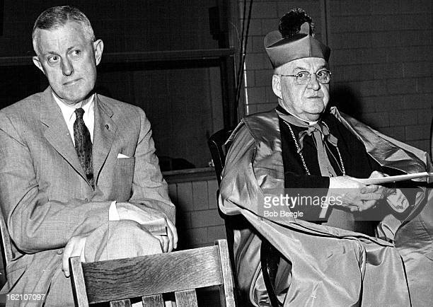 JUN 1 1958 691958 #2ìayor Will F Nicholson and the most Rev Urban J Vehr archbishop of the diocese of Denver sit in honor positions at Catholic high...