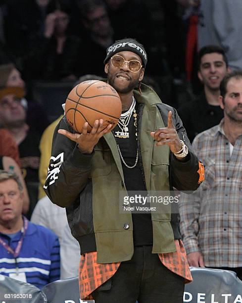 2chainz attends a basketball game between the Denver Nuggets and the Los Angeles Lakers at Staples Center on January 17 2017 in Los Angeles California