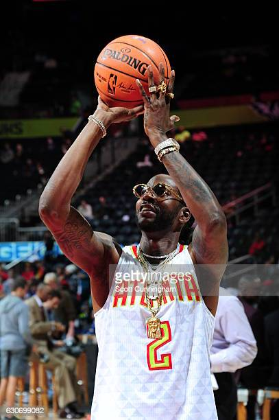 2Chainz is seen before the game betwenn the Detroit Pistons and Atlanta Hawks on December 30 2016 at Philips Arena in Atlanta Georgia NOTE TO USER...