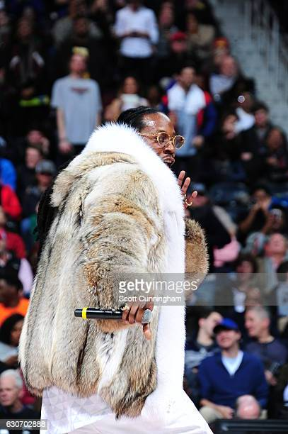 2Chainz performs during halftime of the game between the Detroit Pistons and Atlanta Hawks on December 30 2016 at Philips Arena in Atlanta Georgia...