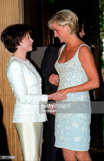 2d3lrincess Of Wales Shaking Hands With Her Friend Marguerite Littman, Founder Of The Aids Crisis Trust, At A Private Viewing And Reception At...