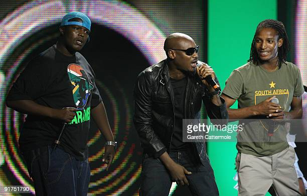 HHP 2Face and Brickz perform on stage at the MTV Africa Music Awards with Zain at the Moi International Sports Centre on October 10 2009 in Nairobi...