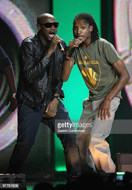 2Face and Brickz perform on stage at the MTV Africa Music Awards with Zain at the Moi International Sports Centre on October 10 2009 in Nairobi Kenya