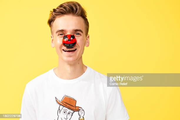 2nd 2020: Youtuber, Joe Sugg wearing a Red Nose Day 2021 t-shirton November 2,2020 in London, England. Red Nose Day takes place on March 19th 2021.
