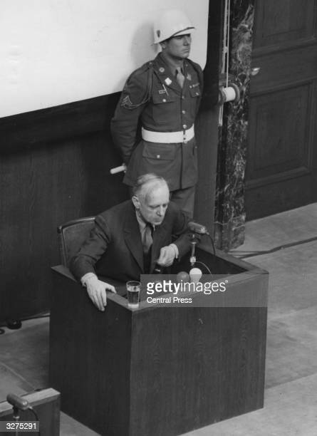Joachim Von Ribbentrop the politician is in the witness box under cross examination at Nuremberg