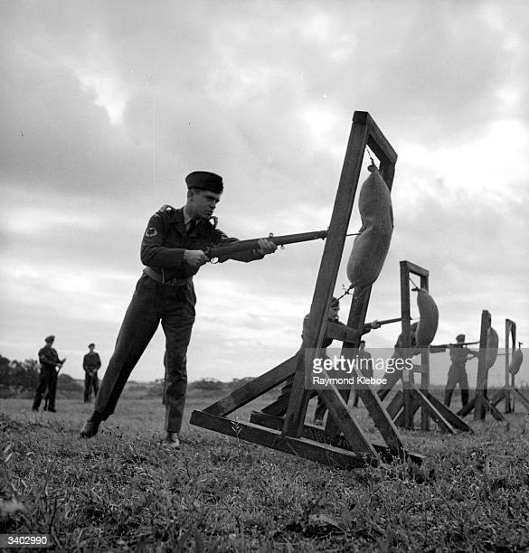 CadetPilot Michael Smart during bayonet practice Original Publication Picture Post 4744 Are We Getting The Airforce We Need pub 1949