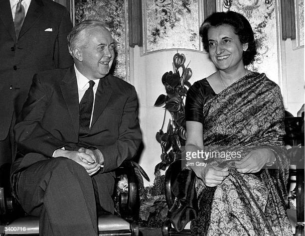 Indian prime minister Indira Gandhi meets British prime minister Harold Wilson at the Forte Hotel London Airport during a short stopover in England