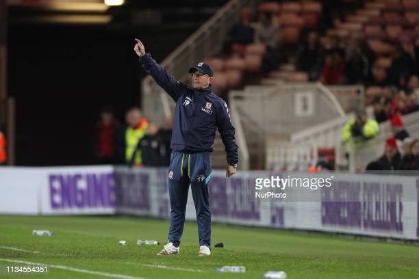 MIDDLESBROUGH ENGLAND 2nd April Tony Pulis the Middlesbrough manager during the Sky Bet Championship match between Middlesbrough and Bristol City at...
