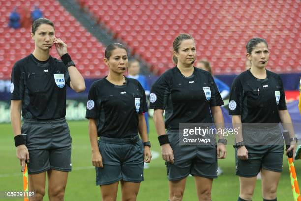 2nd assistant referee Kathryn Nesbitt Fourth official Francia Maria Gonzalez Referee Carol Anne Chénard and 1st assistant referee Chantal Renne...