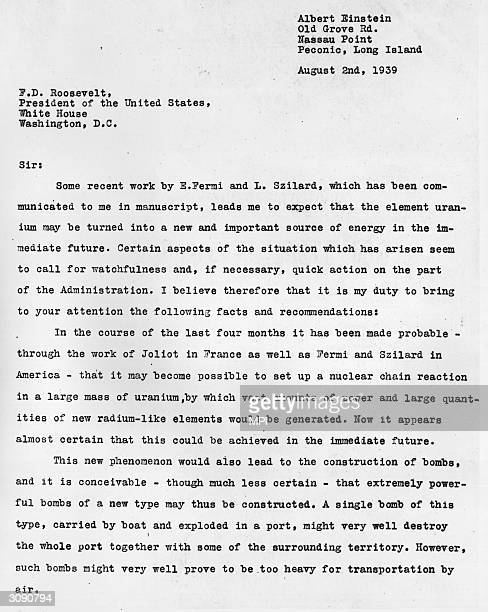 The first page of a letter from the physicist Albert Einstein to President Franklin Delano Roosevelt raising the possibility that Germany could build...
