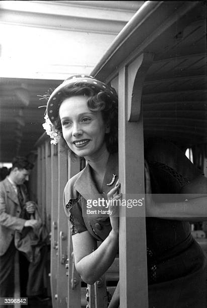 French film star Mila Parely arriving at Southend railway station Original Publication Picture Post 4412 Mila Goes To Southend pub 1947