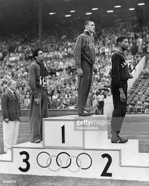 800 metre Olympic Gold Silver and Bronze medal winners on the winners rostrum at the 1948 London Olympics at Wembley Stadium Left to right Marcel...