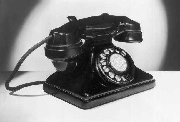 A British telephone handset with dial.