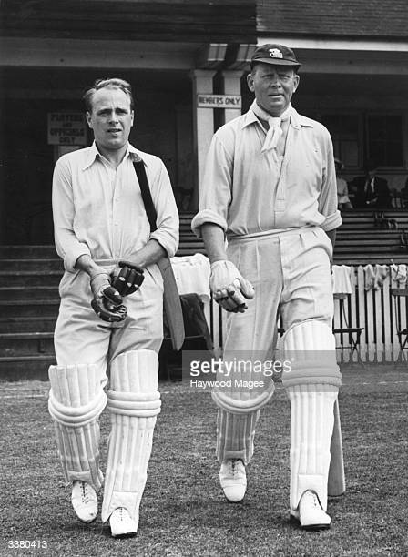 English cricketers D Barrick and F R Brown going out to bat for Northamptonshire versus Worcestershire at Kettering Original Publication Picture Post...