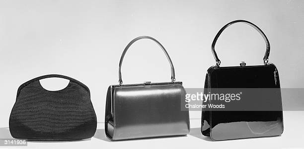 Three handbags from Harrods. One leather, one grosgrain and one patent leather.
