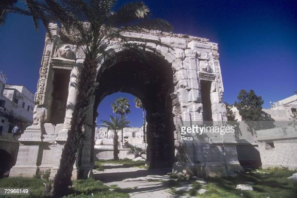 A 2nd century Roman triumphal arch erected in honor of Roman Emperor Marcus Aurelius marks the northern end of the city's medina May 2000 in Tripoli...