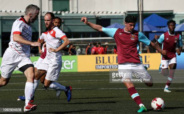 2nd day of the HKFC CITI Soccer Sevens Striking the ball is Joe Powell from West Ham United playing against Yau Yee League Masters 27MAY17 SCMP /...
