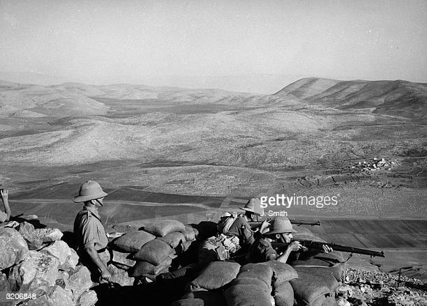 Soldiers of the 2nd Bedfordshire and Hertfordshire Regiment keeping watch on top of Mount Gerizim at Nablus in Palestine.
