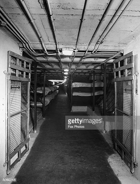 One of the dormitories in Clapham Deep Shelter to be used to accommodate visitors to the Festival of Britain The shelter can take 4000 people is...