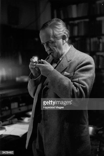 Taking a relaxing smoke Fellow of Merton College Oxford Professor J R R Tolkien Philologist and author of 'The Hobbit' and its sequel 'The Lord of...